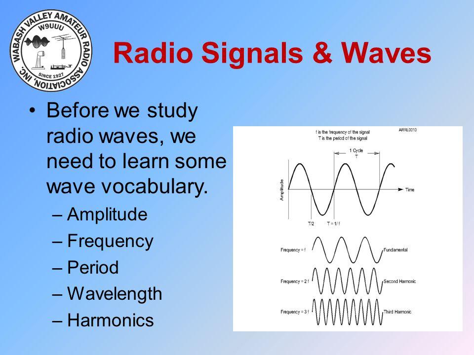 Radio Signals & Waves Before we study radio waves, we need to learn some wave vocabulary. –Amplitude –Frequency –Period –Wavelength –Harmonics