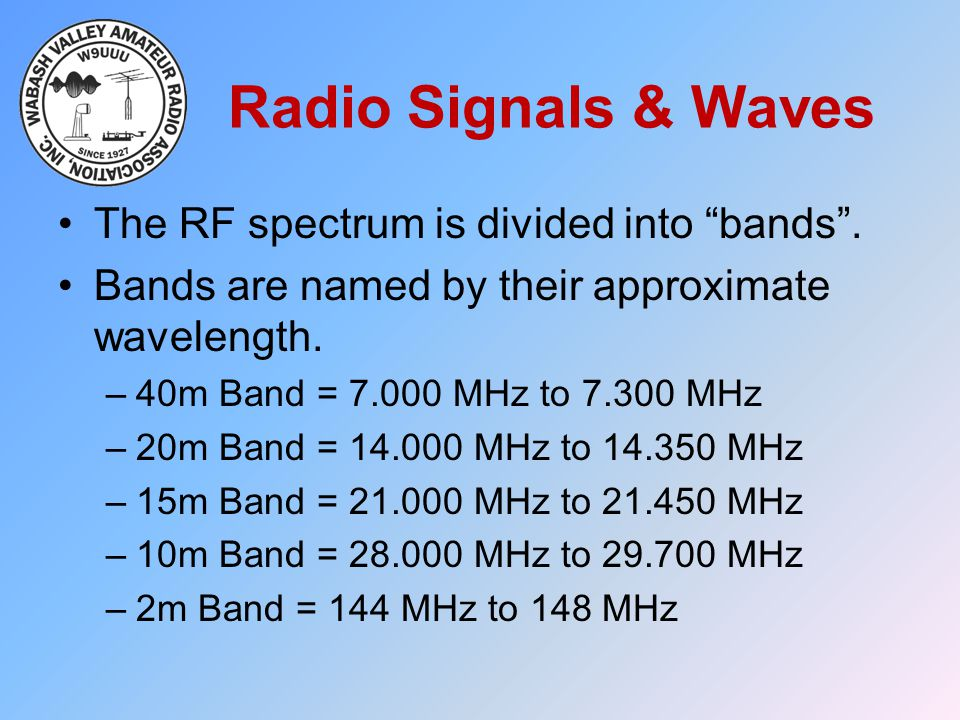 """Radio Signals & Waves The RF spectrum is divided into """"bands"""". Bands are named by their approximate wavelength. –40m Band = 7.000 MHz to 7.300 MHz –20"""