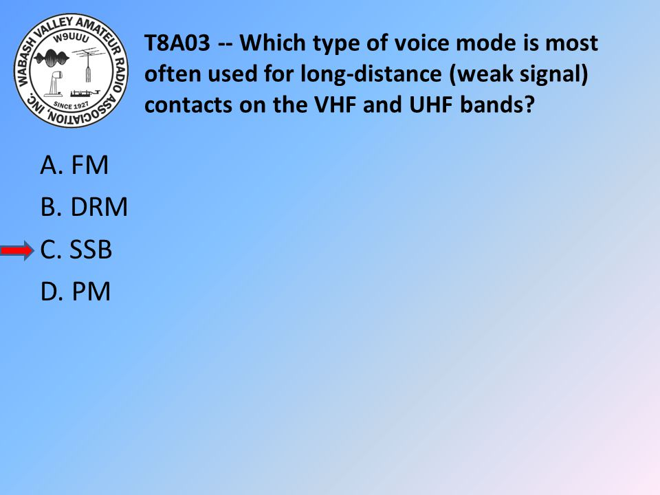 T8A03 -- Which type of voice mode is most often used for long-distance (weak signal) contacts on the VHF and UHF bands? A. FM B. DRM C. SSB D. PM