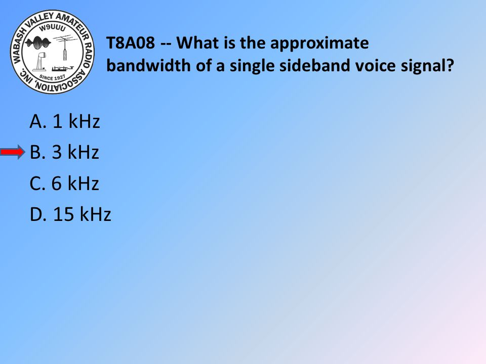 T8A08 -- What is the approximate bandwidth of a single sideband voice signal? A. 1 kHz B. 3 kHz C. 6 kHz D. 15 kHz
