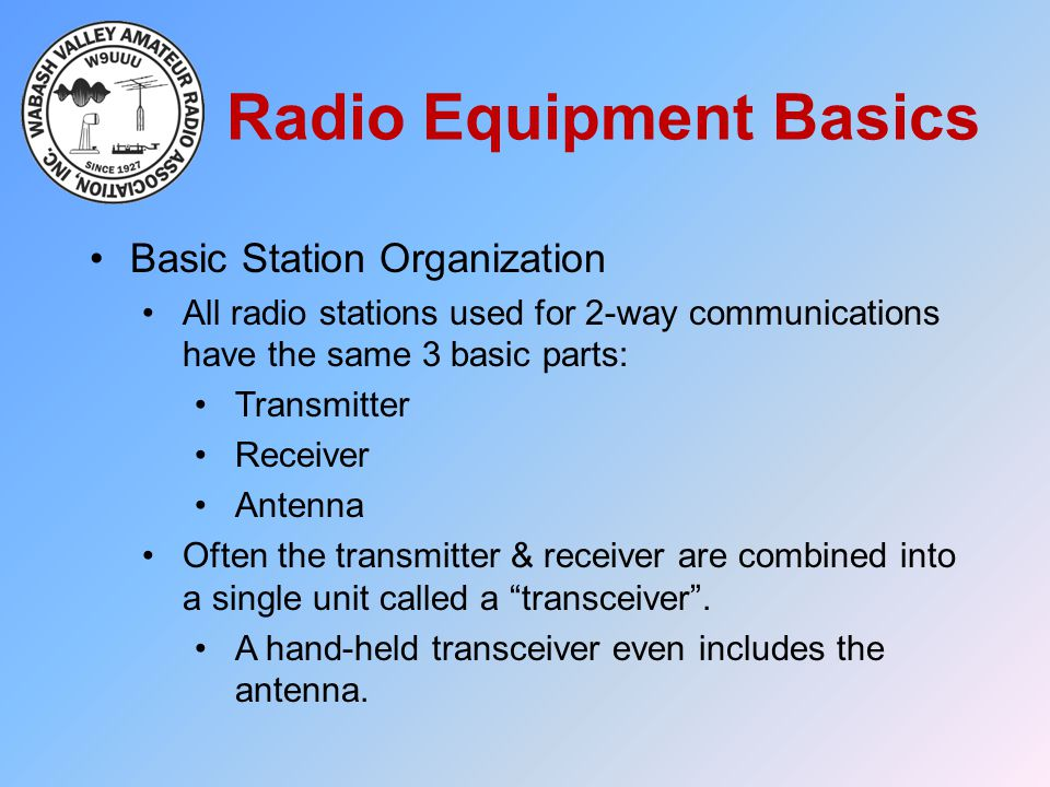 Radio Equipment Basics Basic Station Organization All radio stations used for 2-way communications have the same 3 basic parts: Transmitter Receiver A