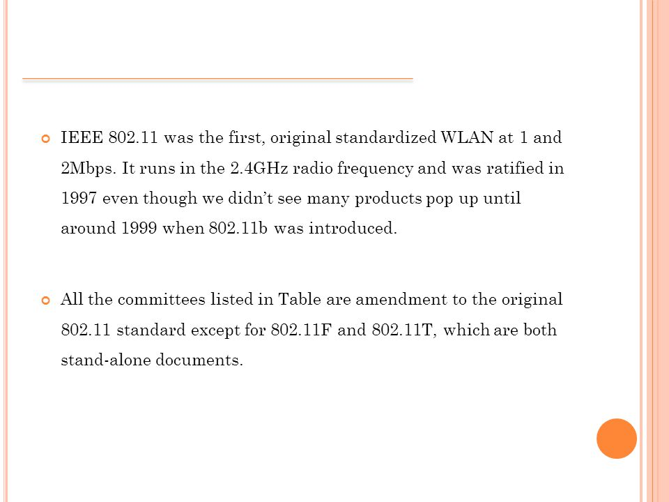 IEEE 802.11 was the first, original standardized WLAN at 1 and 2Mbps.