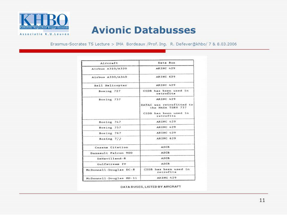 11 Avionic Databusses Erasmus-Socrates TS Lecture > IMA Bordeaux /Prof.