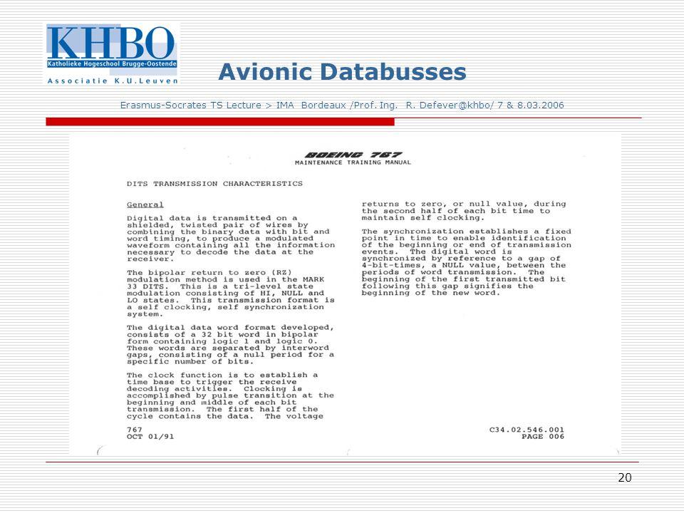 20 Avionic Databusses Erasmus-Socrates TS Lecture > IMA Bordeaux /Prof.