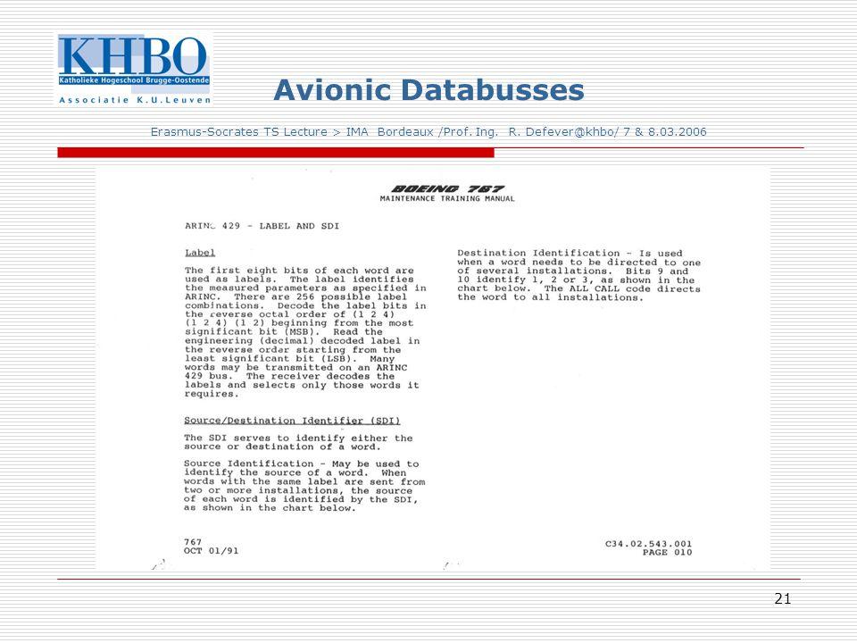 21 Avionic Databusses Erasmus-Socrates TS Lecture > IMA Bordeaux /Prof.