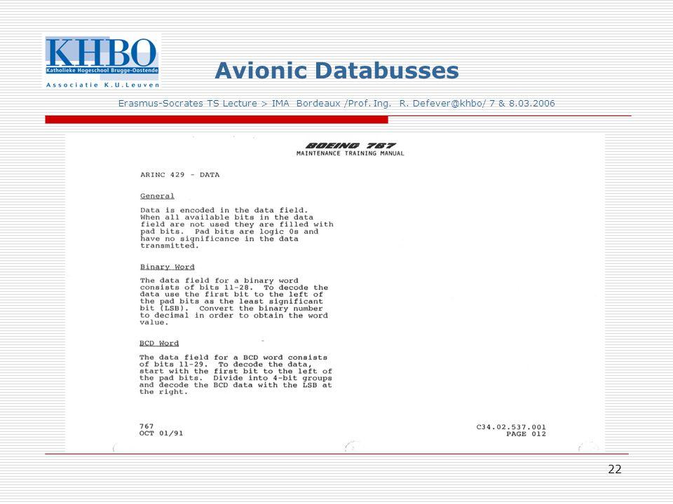 22 Avionic Databusses Erasmus-Socrates TS Lecture > IMA Bordeaux /Prof.