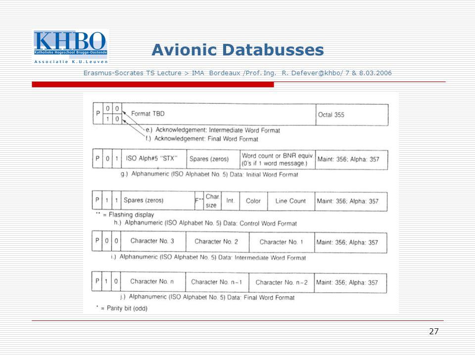 27 Avionic Databusses Erasmus-Socrates TS Lecture > IMA Bordeaux /Prof.