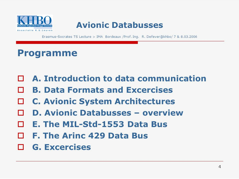 4 Avionic Databusses Erasmus-Socrates TS Lecture > IMA Bordeaux /Prof.