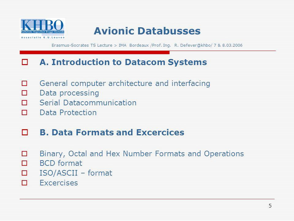 26 Avionic Databusses Erasmus-Socrates TS Lecture > IMA Bordeaux /Prof.