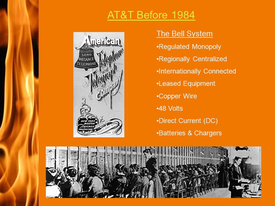 2003 IFC The Bell System Regulated Monopoly Regionally Centralized Internationally Connected Leased Equipment Copper Wire 48 Volts Direct Current (DC) Batteries & Chargers AT&T Before 1984