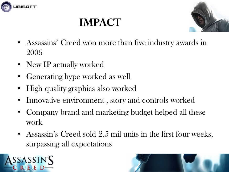 Impact Assassins' Creed won more than five industry awards in 2006 New IP actually worked Generating hype worked as well High quality graphics also worked Innovative environment, story and controls worked Company brand and marketing budget helped all these work Assassin's Creed sold 2.5 mil units in the first four weeks, surpassing all expectations