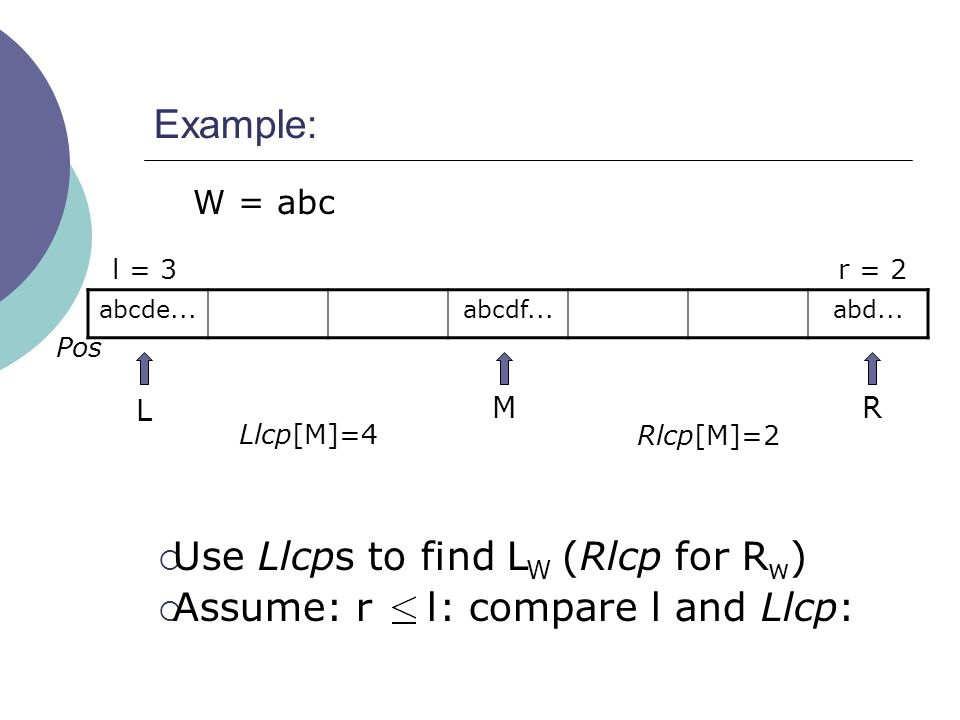 Example: W = abc l = 3 Llcp[M]=4 Rlcp[M]=2 L MR abcde...abcdf...abd... Pos r = 2  Use Llcps to find L W (Rlcp for R w )  Assume: r l: compare l and