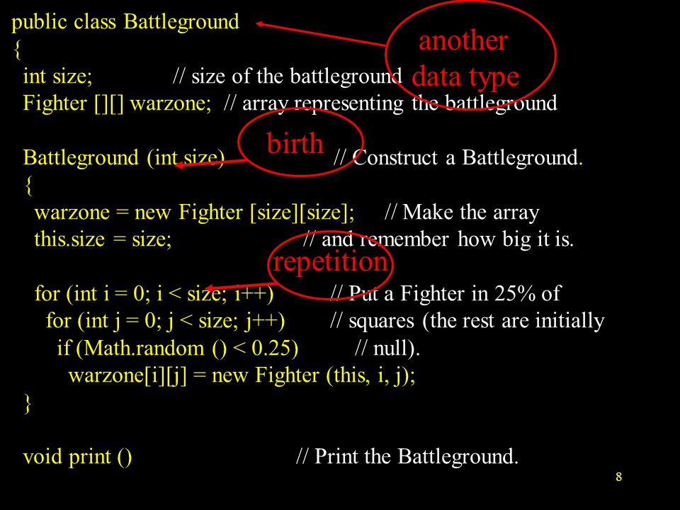 8 public class Battleground { int size; // size of the battleground Fighter [][] warzone; // array representing the battleground Battleground (int size) // Construct a Battleground.
