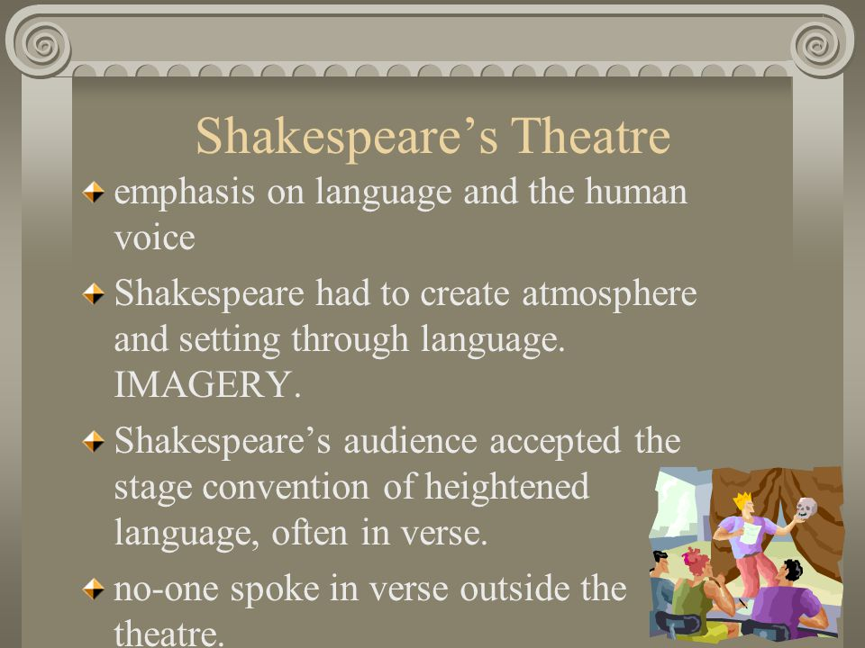 Shakespeare's Theatre emphasis on language and the human voice Shakespeare had to create atmosphere and setting through language.