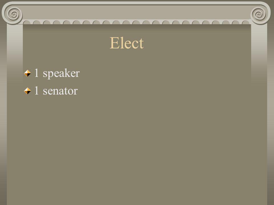 Elect 1 speaker 1 senator