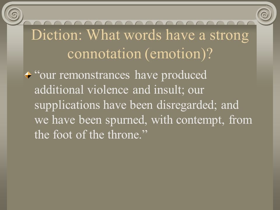 Diction: What words have a strong connotation (emotion).