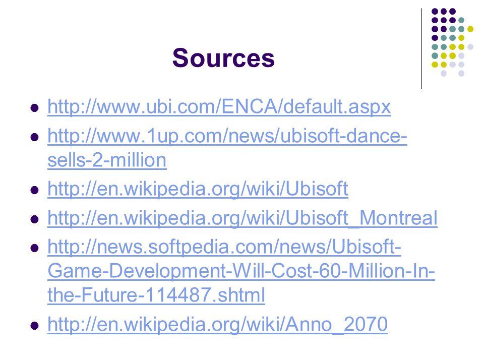 Sources http://www.ubi.com/ENCA/default.aspx http://www.1up.com/news/ubisoft-dance- sells-2-million http://www.1up.com/news/ubisoft-dance- sells-2-million http://en.wikipedia.org/wiki/Ubisoft http://en.wikipedia.org/wiki/Ubisoft_Montreal http://news.softpedia.com/news/Ubisoft- Game-Development-Will-Cost-60-Million-In- the-Future-114487.shtml http://news.softpedia.com/news/Ubisoft- Game-Development-Will-Cost-60-Million-In- the-Future-114487.shtml http://en.wikipedia.org/wiki/Anno_2070