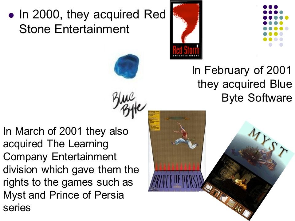 In 2000, they acquired Red Stone Entertainment In February of 2001 they acquired Blue Byte Software In March of 2001 they also acquired The Learning Company Entertainment division which gave them the rights to the games such as Myst and Prince of Persia series