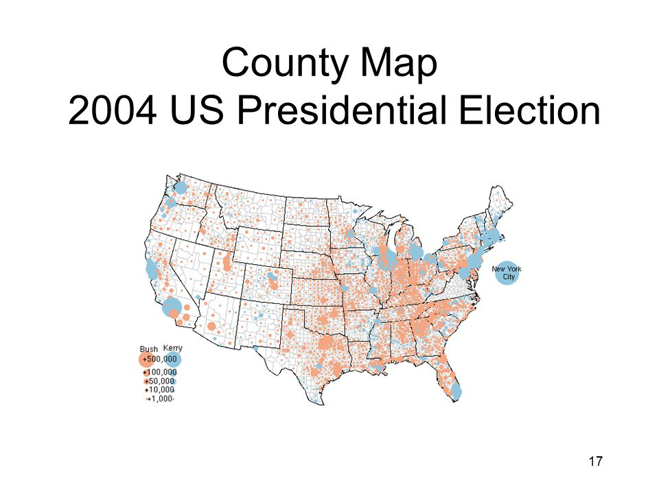 17 County Map 2004 US Presidential Election