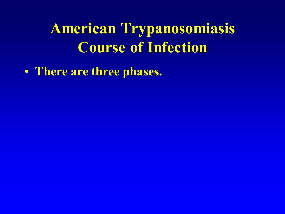 American Trypanosomiasis Course of Infection There are three phases.