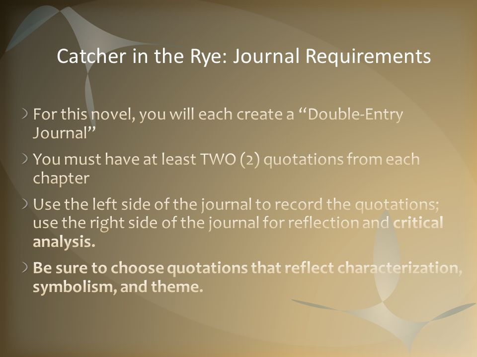 Catcher in the Rye: Journal Requirements