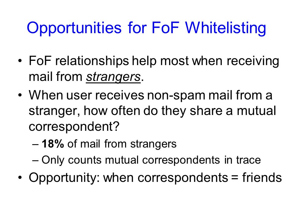 Opportunities for FoF Whitelisting FoF relationships help most when receiving mail from strangers.