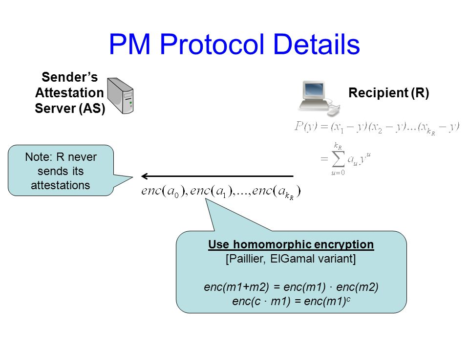 PM Protocol Details Recipient (R) Sender's Attestation Server (AS) Use homomorphic encryption [Paillier, ElGamal variant] enc(m1+m2) = enc(m1) ∙ enc(m2) enc(c ∙ m1) = enc(m1) c Note: R never sends its attestations