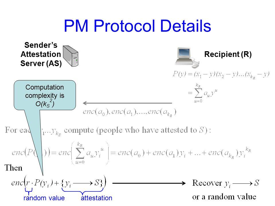 PM Protocol Details Recipient (R) Sender's Attestation Server (AS) random valueattestation Computation complexity is O(k S 2 )