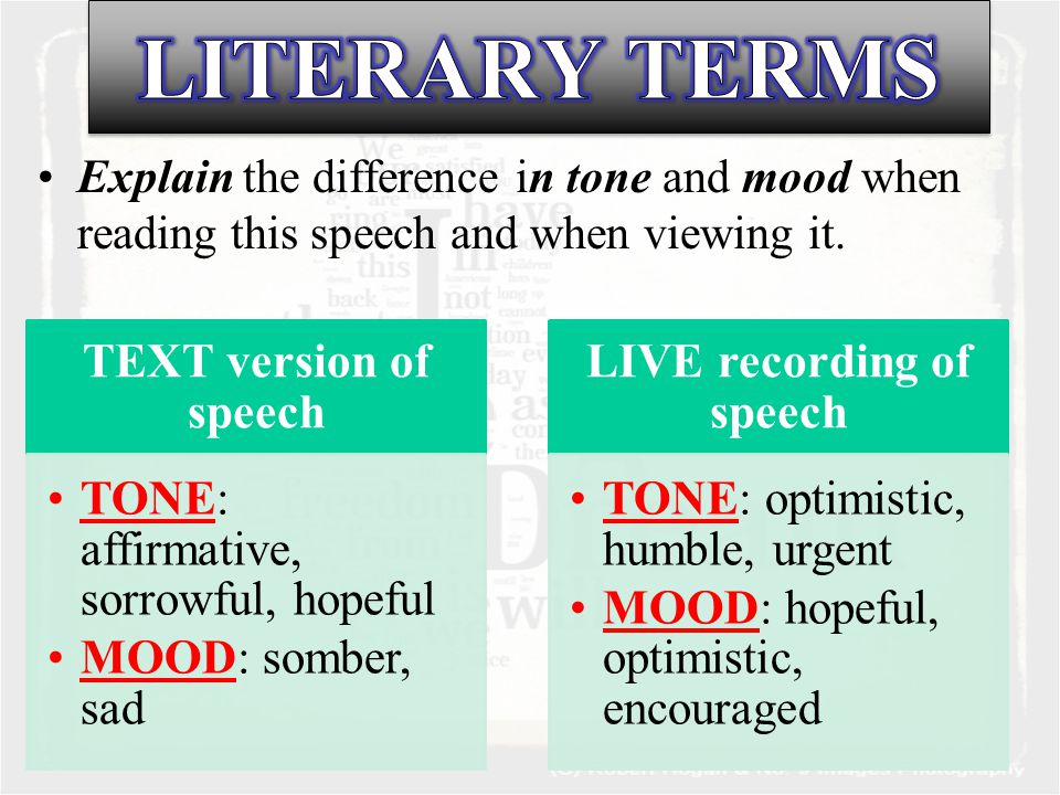 Explain the difference in tone and mood when reading this speech and when viewing it.