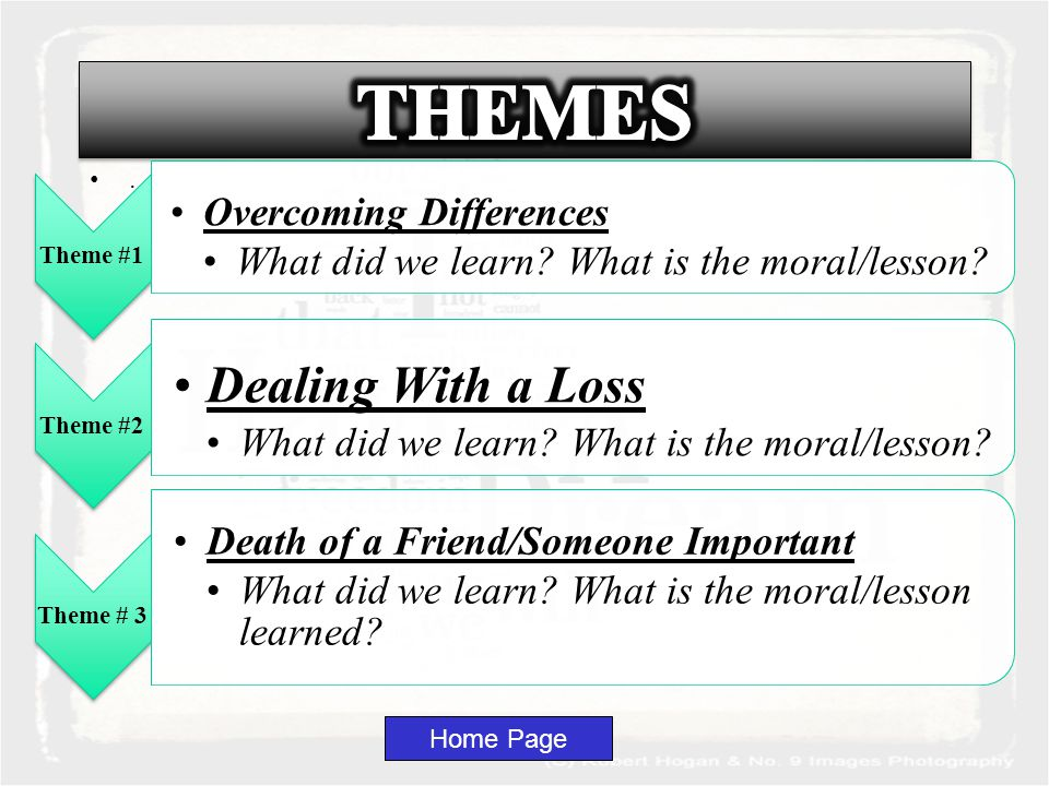 Home Page Theme #1 Overcoming Differences What did we learn.