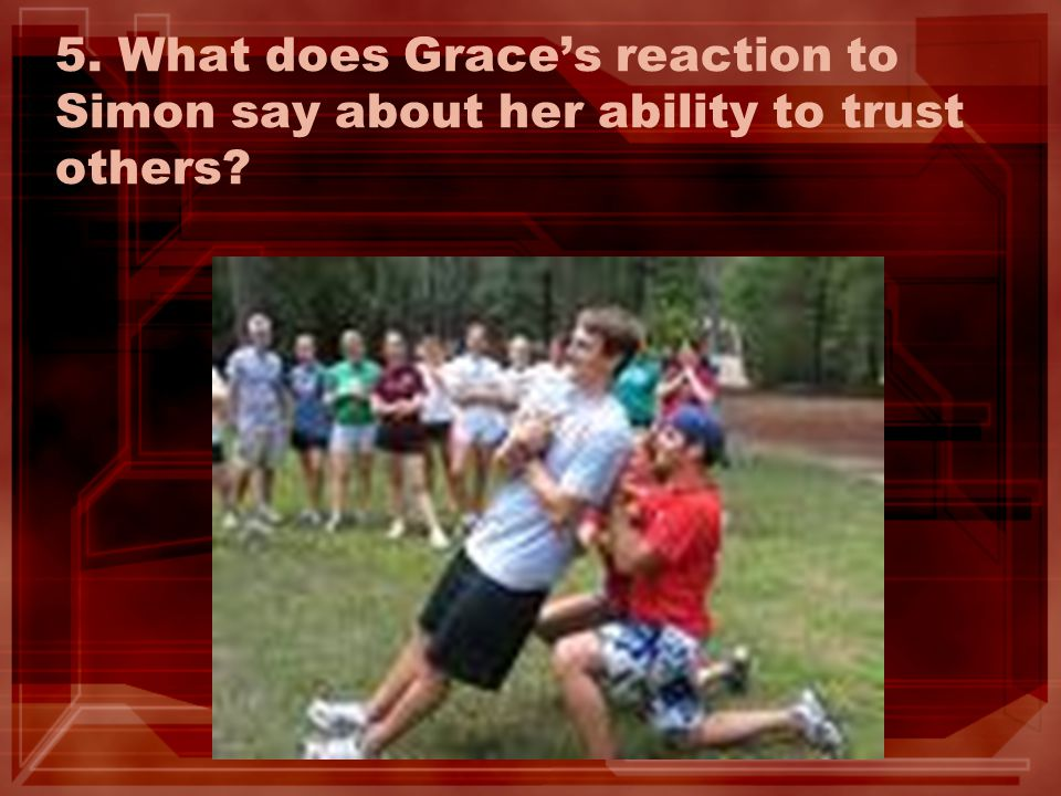5. What does Grace's reaction to Simon say about her ability to trust others?