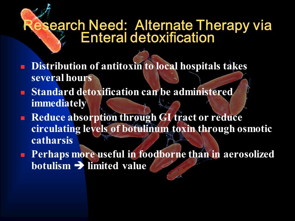 Research Need: Alternate Therapy via Enteral detoxification Distribution of antitoxin to local hospitals takes several hours Standard detoxification can be administered immediately Reduce absorption through GI tract or reduce circulating levels of botulinum toxin through osmotic catharsis Perhaps more useful in foodborne than in aerosolized botulism  limited value
