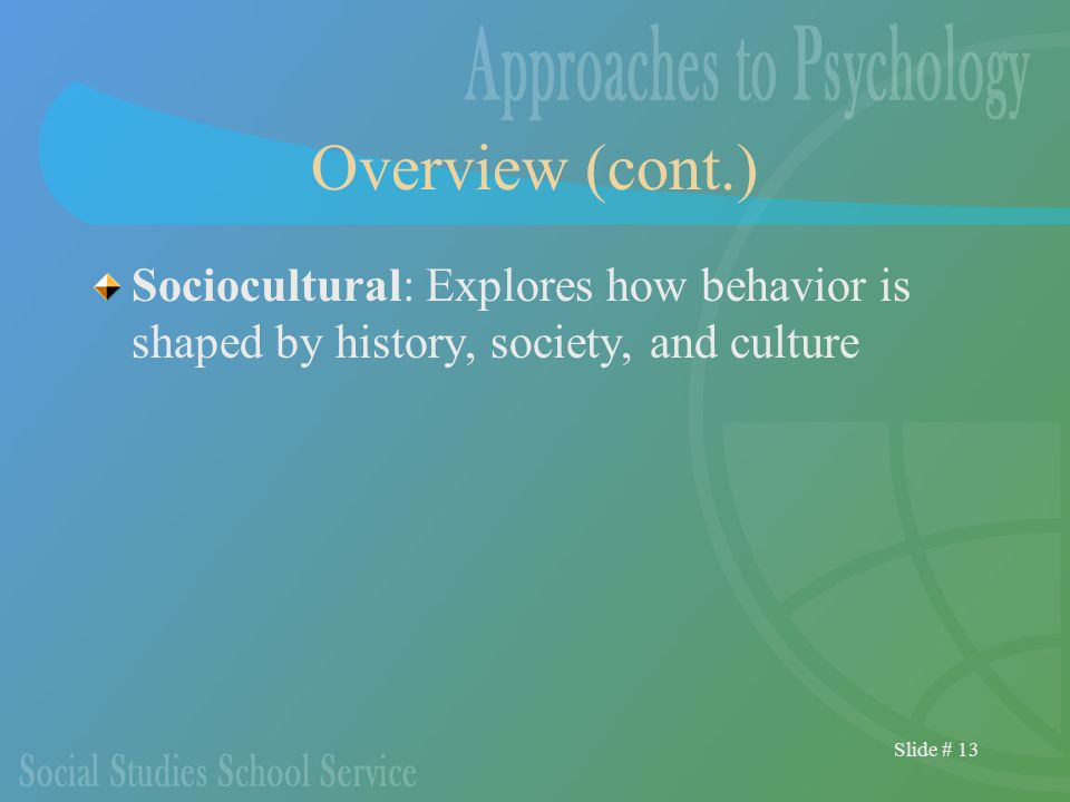 Slide # 13 Overview (cont.) Sociocultural: Explores how behavior is shaped by history, society, and culture