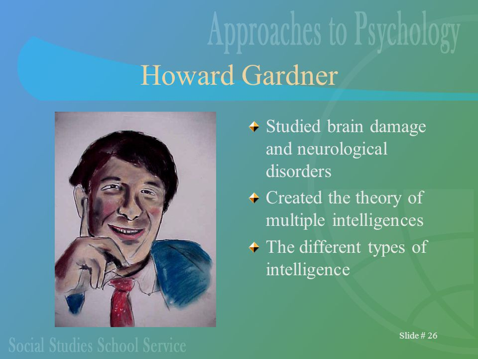 Slide # 26 Howard Gardner Studied brain damage and neurological disorders Created the theory of multiple intelligences The different types of intelligence