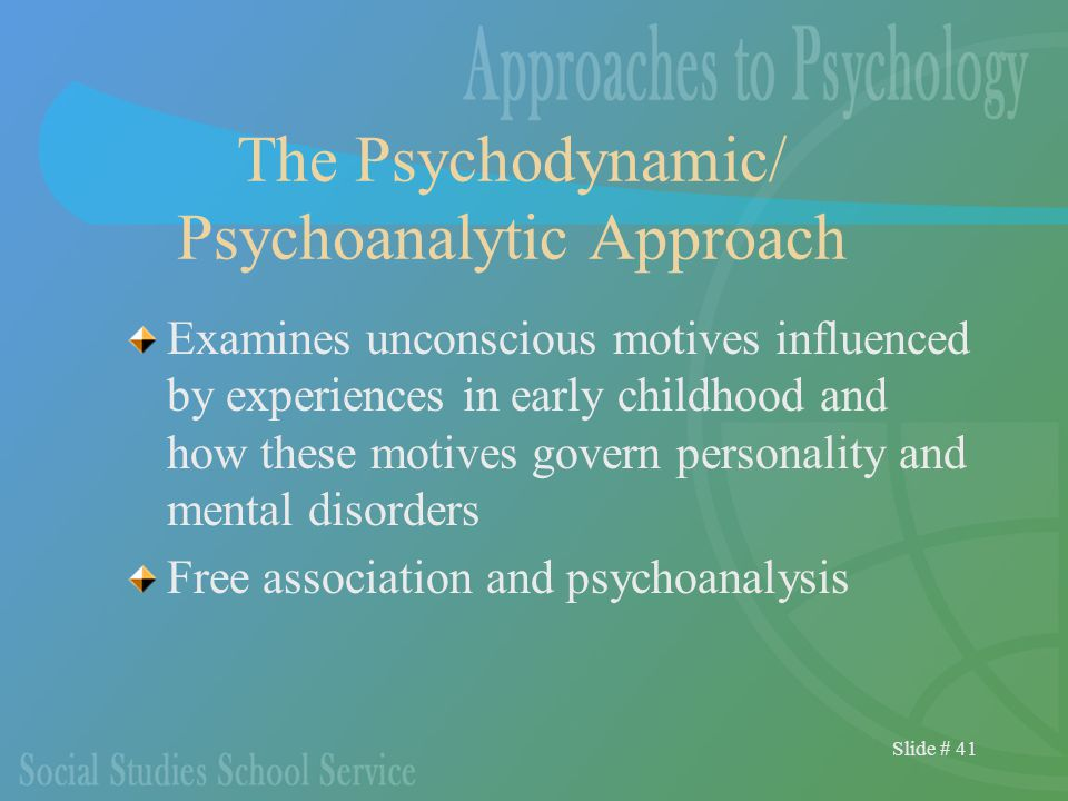 Slide # 41 The Psychodynamic/ Psychoanalytic Approach Examines unconscious motives influenced by experiences in early childhood and how these motives govern personality and mental disorders Free association and psychoanalysis