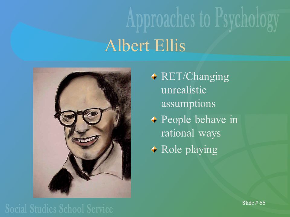 Slide # 66 Albert Ellis RET/Changing unrealistic assumptions People behave in rational ways Role playing