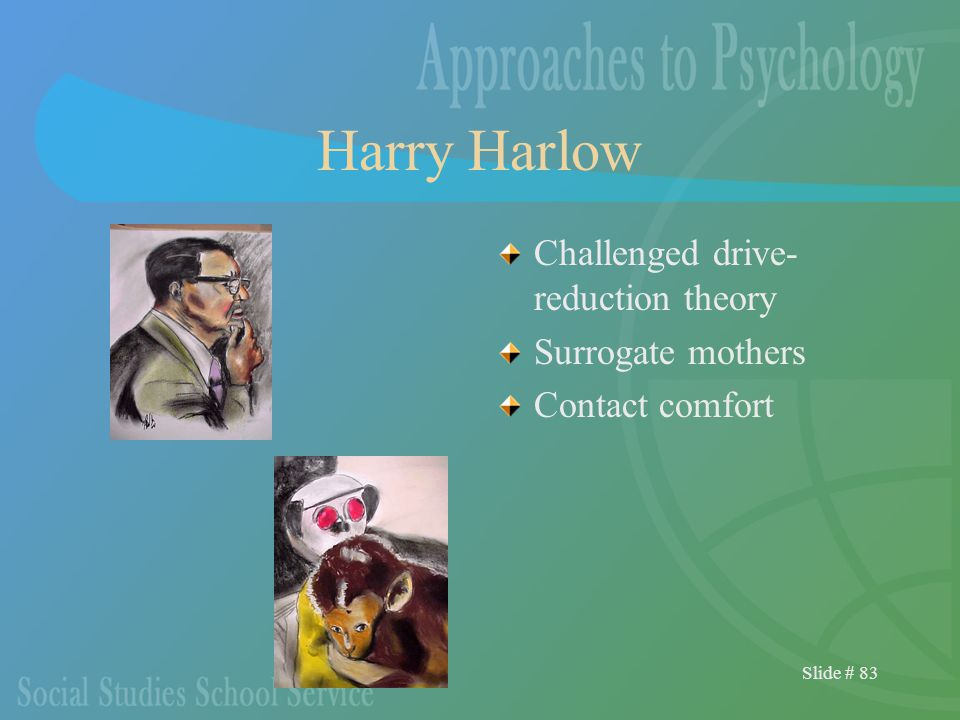 Slide # 83 Harry Harlow Challenged drive- reduction theory Surrogate mothers Contact comfort