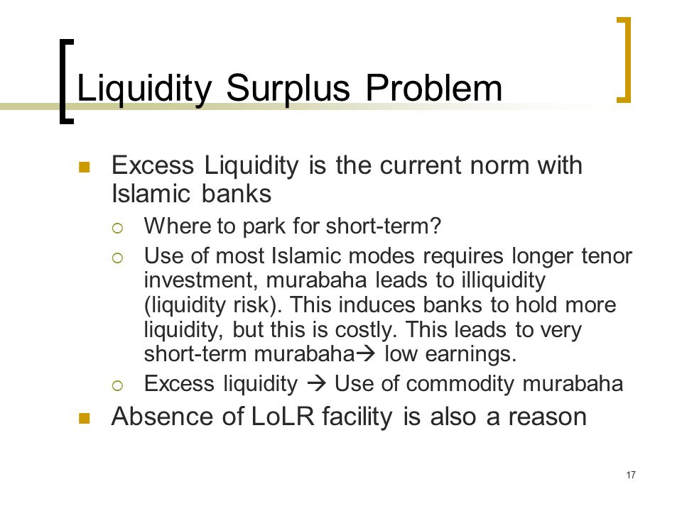 17 Liquidity Surplus Problem Excess Liquidity is the current norm with Islamic banks  Where to park for short-term.