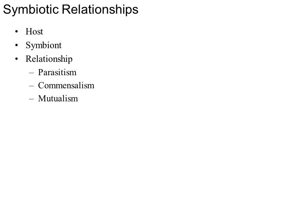 Symbiotic Relationships Host Symbiont Relationship –Parasitism –Commensalism –Mutualism