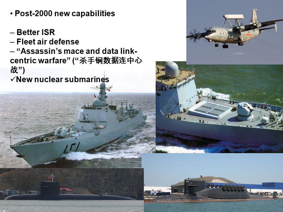 "Post-2000 new capabilities – Better ISR – Fleet air defense – ""Assassin's mace and data link- centric warfare"" ("" 杀手锏数据连中心 战 "") New nuclear submarines"