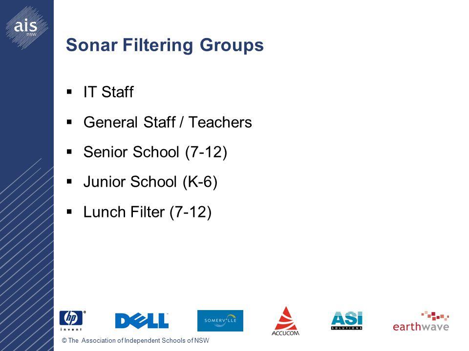 © The Association of Independent Schools of NSW Sonar Filtering Groups  IT Staff  General Staff / Teachers  Senior School (7-12)  Junior School (K-6)  Lunch Filter (7-12)