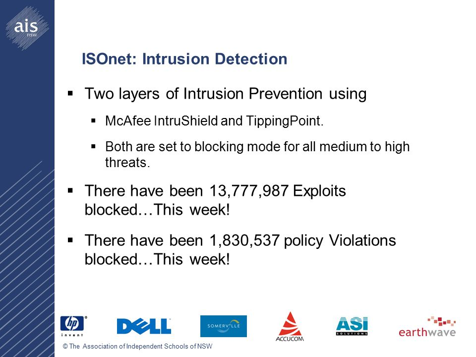 © The Association of Independent Schools of NSW ISOnet: Intrusion Detection  Two layers of Intrusion Prevention using  McAfee IntruShield and TippingPoint.