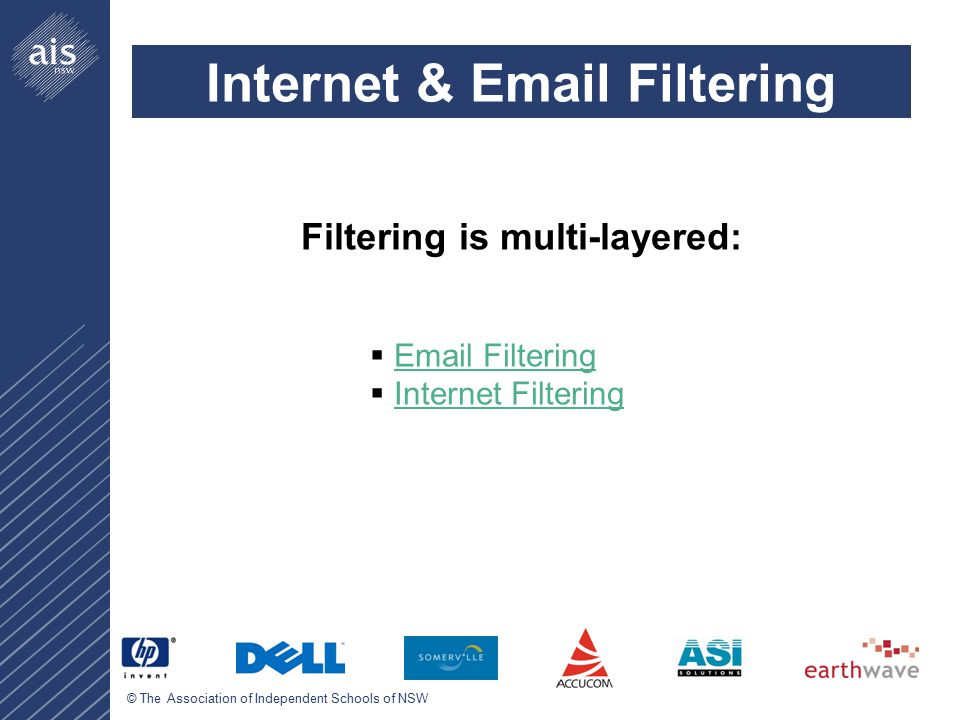 © The Association of Independent Schools of NSW Internet & Email Filtering Filtering is multi-layered:  Email FilteringEmail Filtering  Internet FilteringInternet Filtering