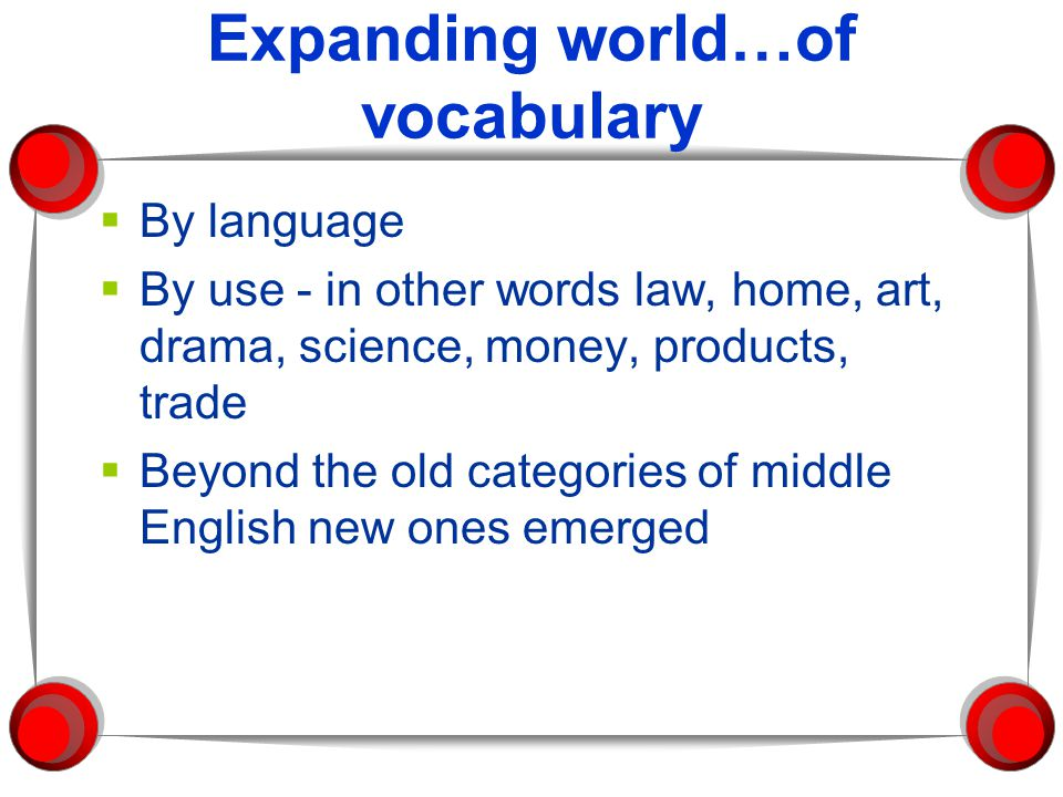 Expanding world…of vocabulary  By language  By use - in other words law, home, art, drama, science, money, products, trade  Beyond the old categories of middle English new ones emerged