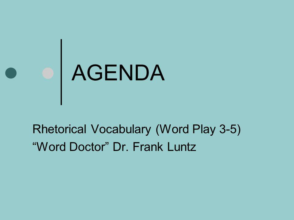 Rhetorical Vocabulary Word Play 3-5