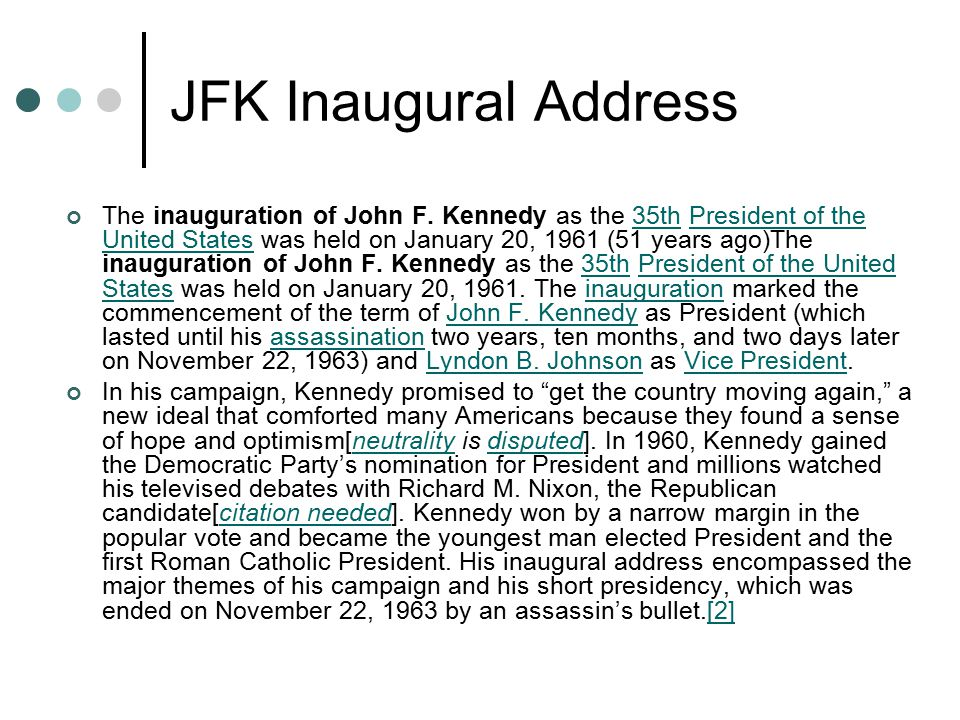 JFK Inaugural Address Read and analyze Pair/share findings