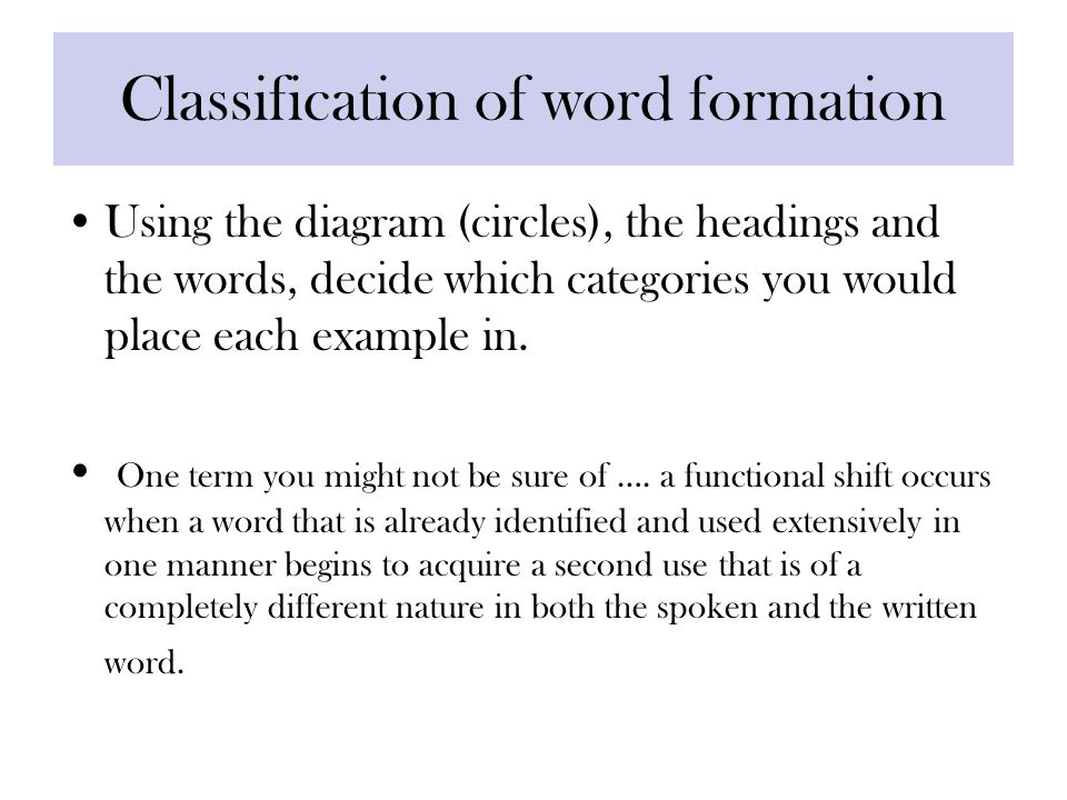 Classification of word formation Using the diagram (circles), the headings and the words, decide which categories you would place each example in.