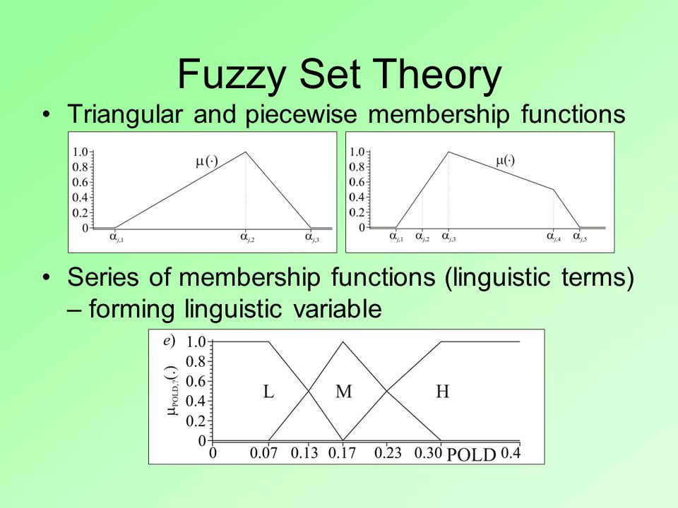 Triangular and piecewise membership functions Series of membership functions (linguistic terms) – forming linguistic variable Fuzzy Set Theory