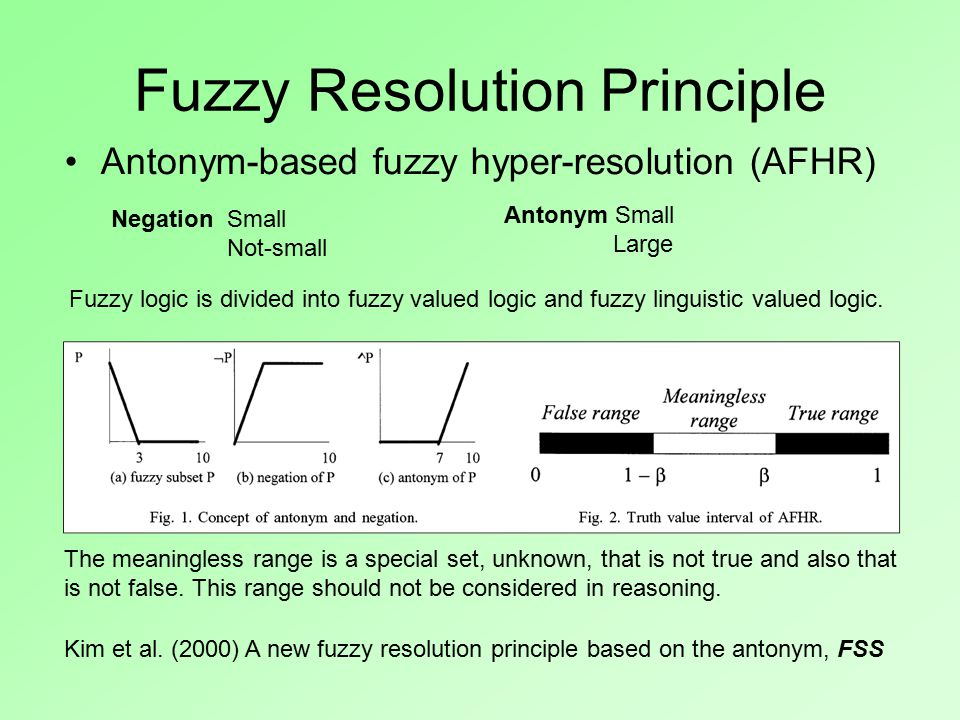 Fuzzy Resolution Principle Antonym-based fuzzy hyper-resolution (AFHR) Kim et al.