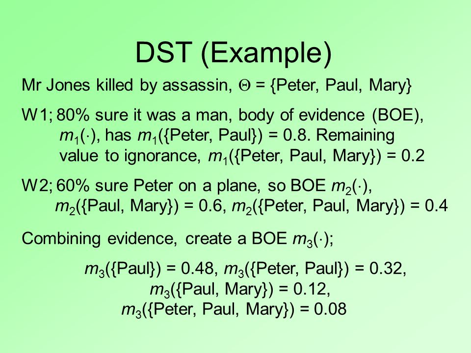 Mr Jones killed by assassin,  = {Peter, Paul, Mary} W1; 80% sure it was a man, body of evidence (BOE), m 1 (  ), has m 1 ({Peter, Paul}) = 0.8.